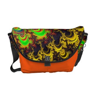 Unique Florescent Fractal Art Rickshaw Bag