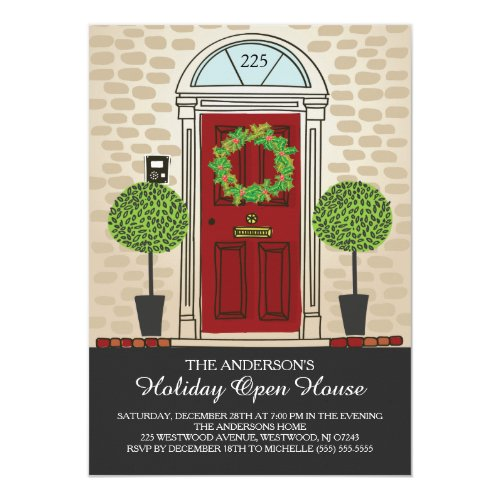 Unique Holiday Open House Party Invitation