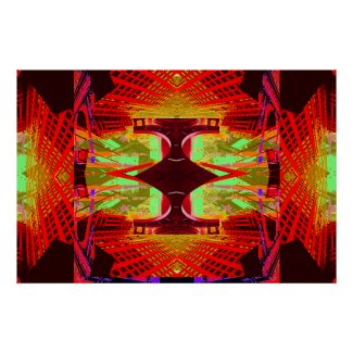 Unusual Red Abstract Extreme Design Poster 15