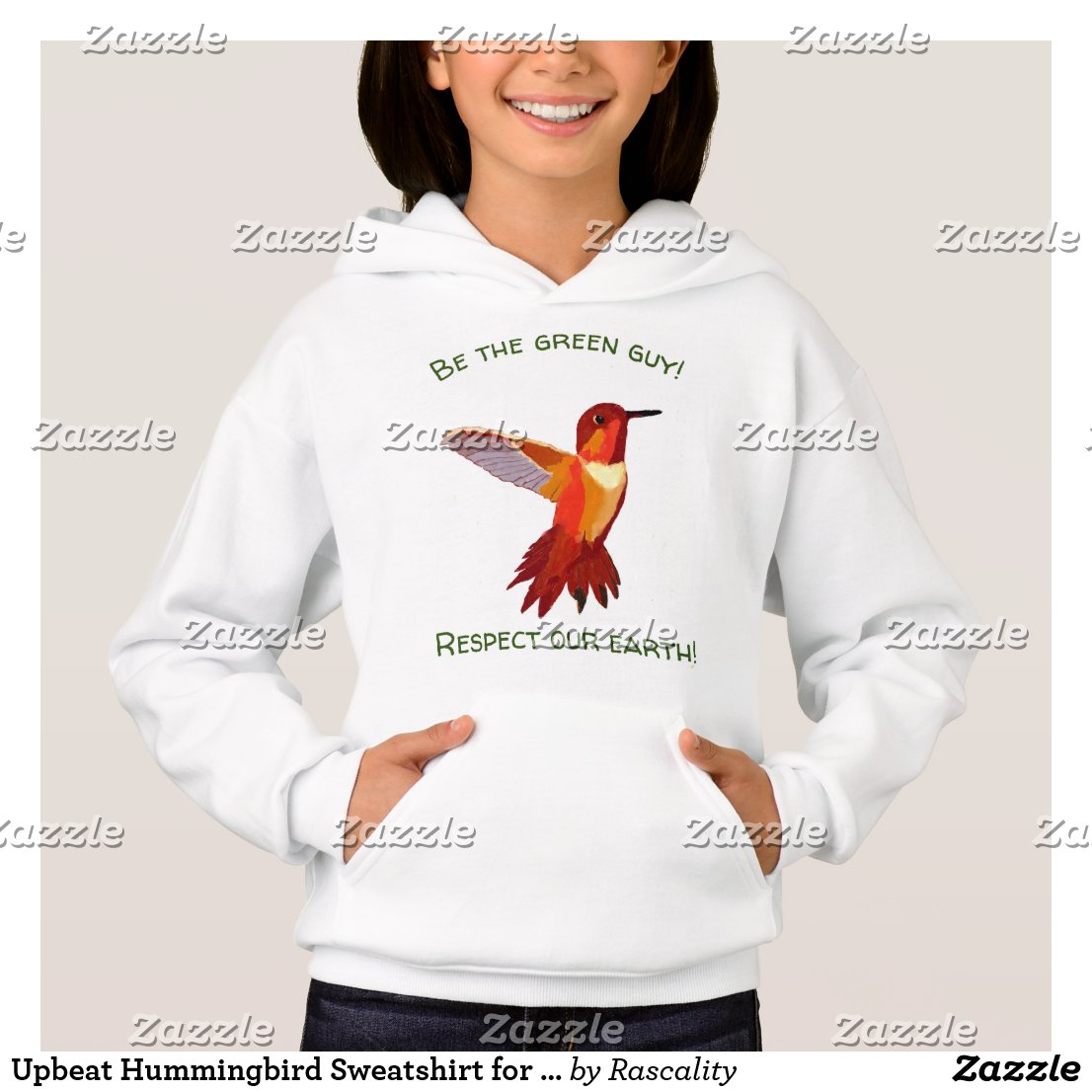 Upbeat Hummingbird Sweatshirt for Girls