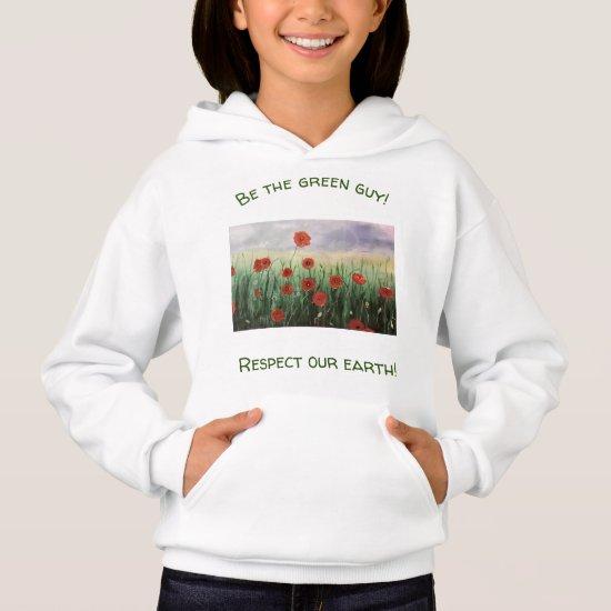 Upbeat Poppy Field  Nature Sweatshirt for Girls