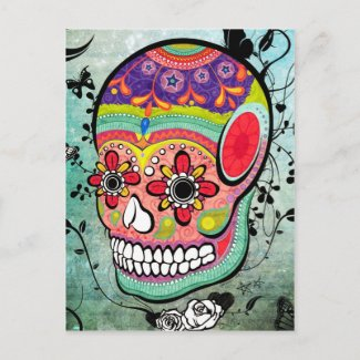 Urban Muerte Day of the Dead Illustrated Postcard postcard