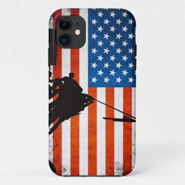 US Flag with Veterans Silhouettes iPhone 11 Case