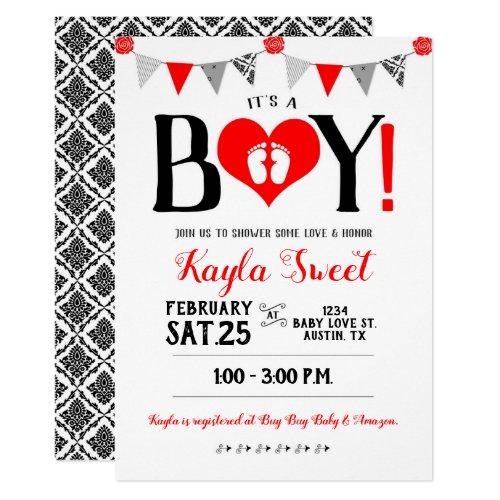 Valentine Baby Shower Invitation It's A Boy