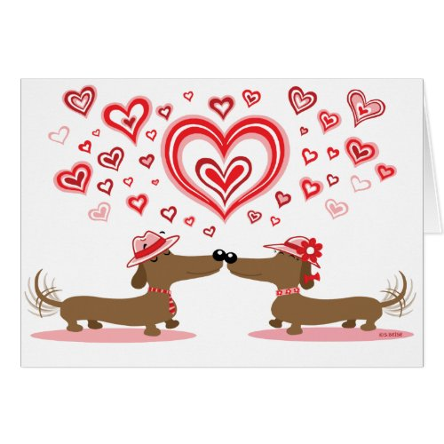 Valentine Dachshunds - Customized Greeting Card