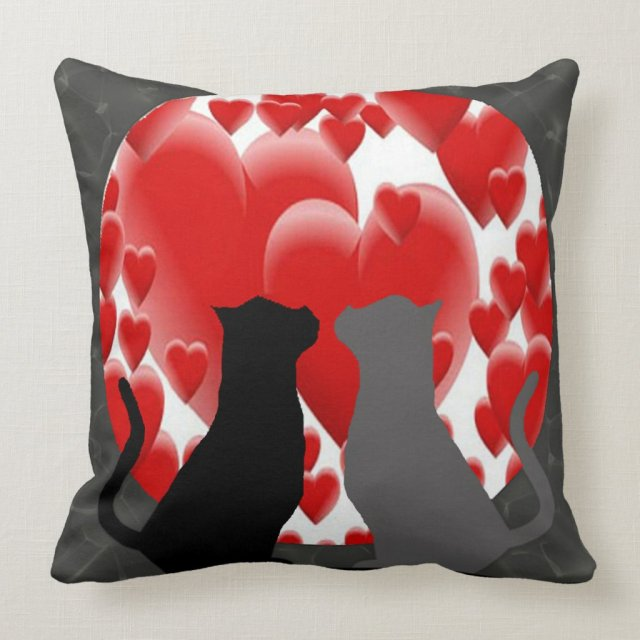 Valentine Kitties Throw Pillow