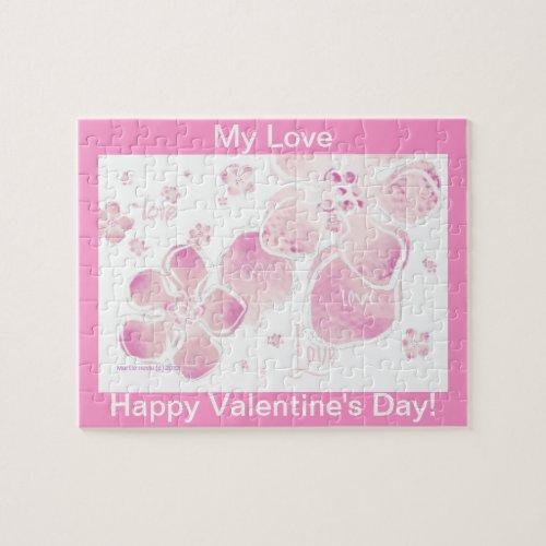 Valentine Love Pink Blossoms Puzzle (Personalize) puzzle