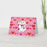 Valentine Maneki Neko Lucky Cat Holiday Card
