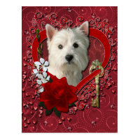 Valentines - Key to My Heart West Highland Terrier Postcard