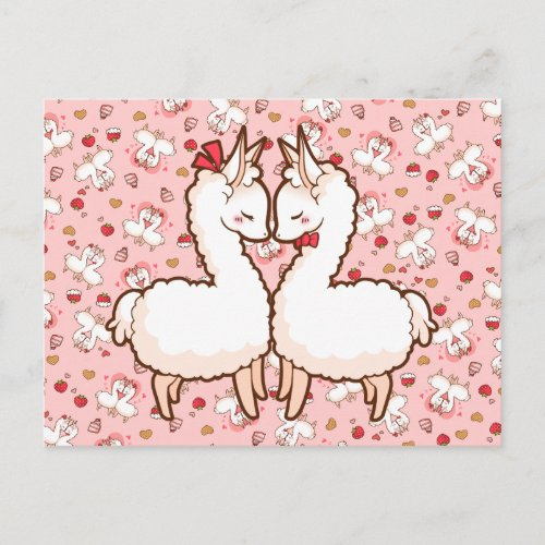 Valentine's Love Llamas Holiday Postcard