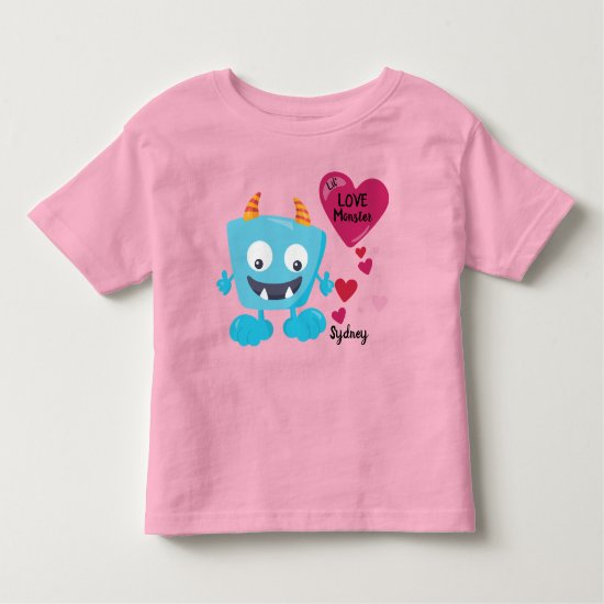 Valentine's Love Monster with Hearts | Cute Toddler T-shirt
