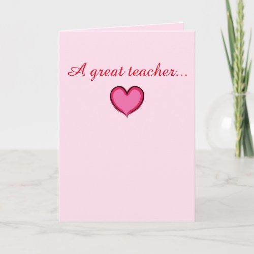 Valentine's Teacher Heart Card