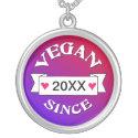 Vegan Since Custom Necklace zazzle_necklace