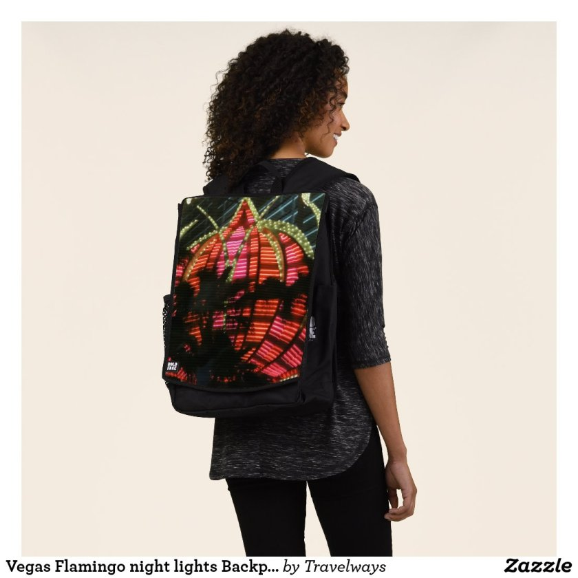 Vegas Flamingo night lights Backpack