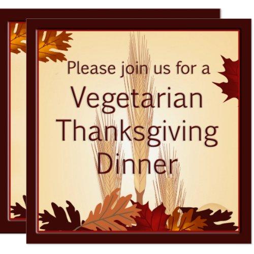 Vegetarian Thanksgiving Harvest Design Dinner Invitation