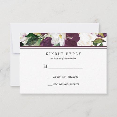 Velvet Magnolia Floral Wedding  RSVP MEAL option