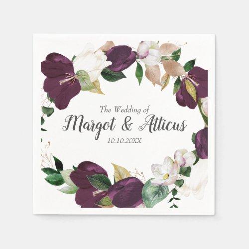 Velvet Magnolia Wreath Plum  Wedding Napkin
