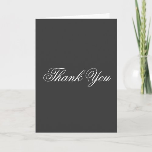 Vertical Thank You Gray White Script Greeting Card