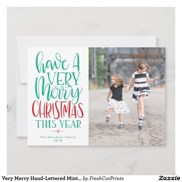 Very Merry Hand-Lettered Mint Green and Red Photo