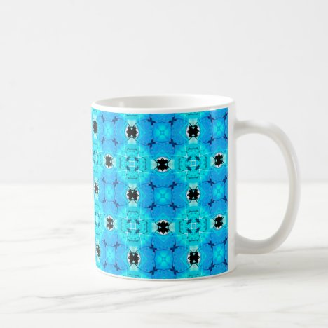 Vibrant Abstract Modern Aqua Blue Lattice Quilt Coffee Mug