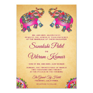 Vibrant Ethnic Elephants Indian Wedding Invitation