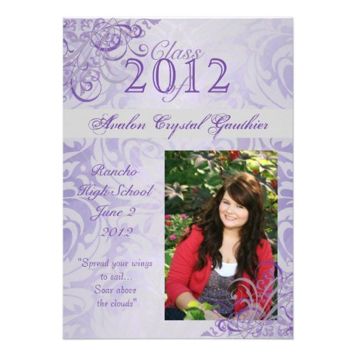 Victorian Baroque Purple Graduation Invitations