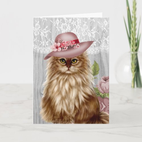 Victorian Cat dressed in Hat Notecard