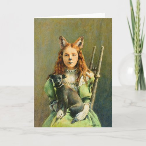 Victorian Fox Girl Greetings Card