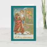 Victorian Santa with Pack Christmas Card