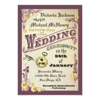 Victorian Steampunk Vintage Gears Wedding Card