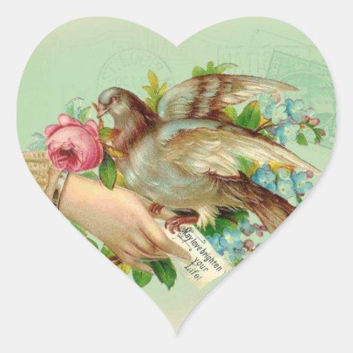 Victorian Valentine Bird And Rose Heart Sticker Zazzle