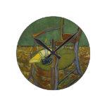 Vincent Van Gogh - Gauguin's Armchair painting Round Clock
