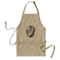 Vintage 1800s Heart Retro Cardiac Anatomy Hearts Adult Apron