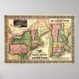 Vintage 1856 New England Rail Map print