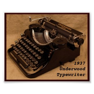 Vintage 1937 Underwood Typewriter print