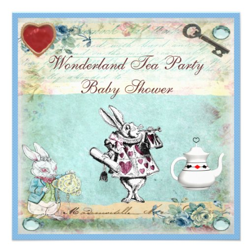 Personalized Alice In Wonderland Baby Shower Invitations