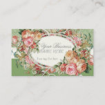 ❤️ Vintage Antique Roses Floral Bouquet Modern Swirls Business Card