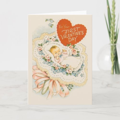 Vintage Baby First Valentine Greeting Card