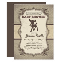 Vintage BABY SHOWER invitation - toy deer fawn