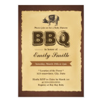 Vintage Baby Shower Pig Roast BBQ Party Card