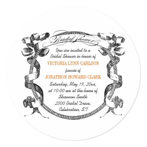 Vintage Banner Flourish Script Bridal Shower Invitation