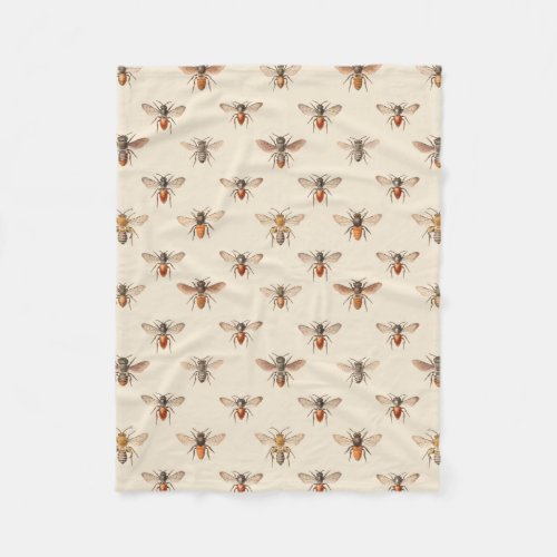 Vintage Bee Illustration Pattern Fleece Blanket