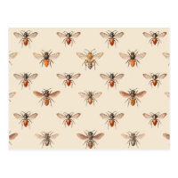 Vintage Bee Illustration Pattern Postcard