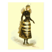 Vintage Bee Lady Postcard