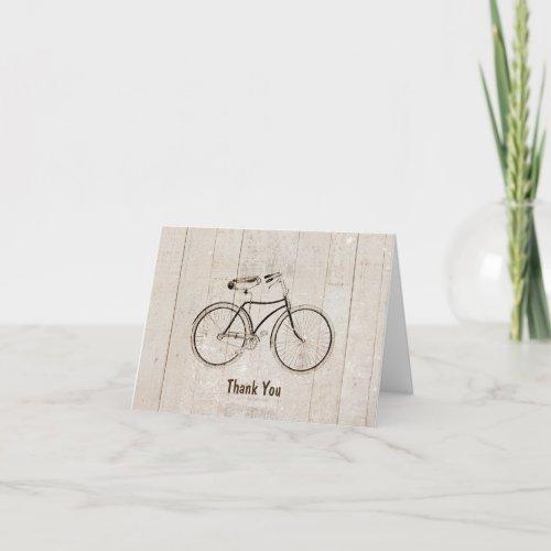 Vintage Bicycle Bike Rustic Wood Thank You Card