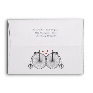 Vintage Bicycle Love Wedding Invitation Envelopes