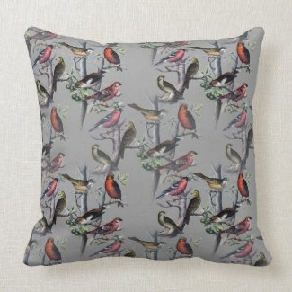 Vintage Bird Pattern Cushion by LeahG - grey Throw Pillows