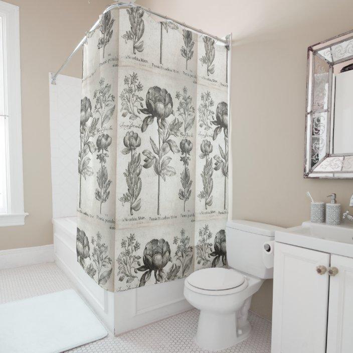 vintage black and white botanical flowers floral shower curtain zazzle com