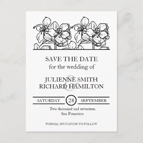 Vintage Black & White Floral Wedding Save the Date Announcement Postcard