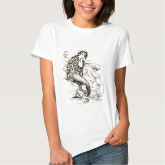 Vintage Black White Mermaid Drawing T-shirt